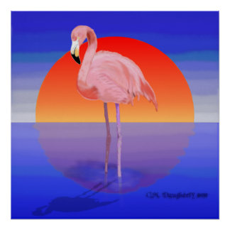 Flamingo Sunset Poster