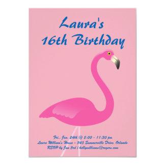 Flamingo Sweet 16 Birthday Party Invitation - Pink