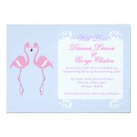 flamingo sweet purple wedding invitation
