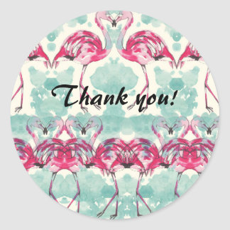 Flamingo Thank you sticker