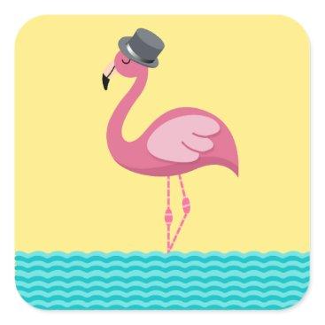 Beach Themed Flamingo Top Hat Sticker