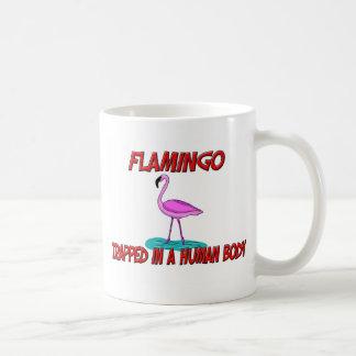 Flamingo trapped in a human body coffee mug
