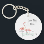 "Flamingo Trio 4 Text acrylic key chain<br><div class=""desc"">Stylish design with a retro touch featuring flamingos standing in water on a white background. A customizable design for you to personalise with your own text,  images and ideas. An original digital art image created by QuirkyChic.</div>"
