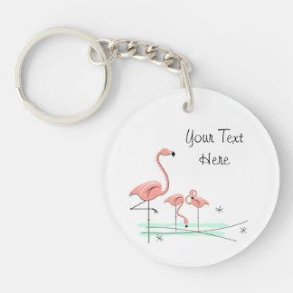 Flamingo Trio 4 Text acrylic key chain