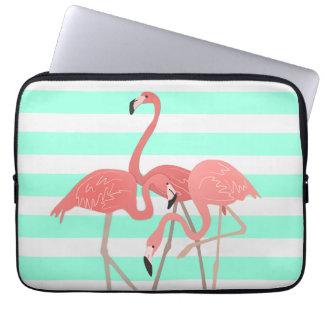 Flamingo Trio on Stripes Laptop Computer Sleeves