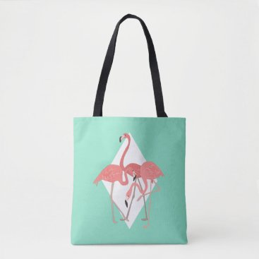 Beach Themed Flamingo Trio Tropical Tote Bag