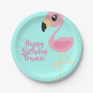 Flamingo Tropical 1st Birthday Plates