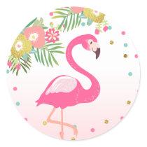 Flamingo Tropical Birthday Envelope Seal Sticker