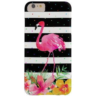 Flamingo &Tropical Bouquet Black Stripes Pattern Barely There iPhone 6 Plus Case