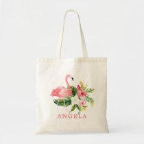 Flamingo Tropical Floral Bridesmaid Favor Tote Bag
