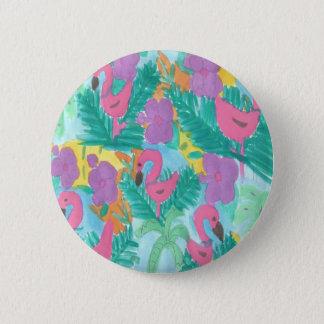 Flamingo Tropical Jungle Pattern Button