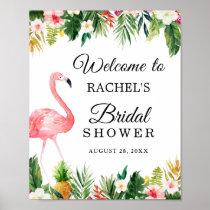 Flamingo Tropical Leaves Floral Bridal Shower Sign