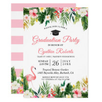 Flamingo Tropical Leaves Floral Graduation Party Card