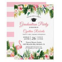 Flamingo Tropical Leaves Floral Graduation Party Invitation