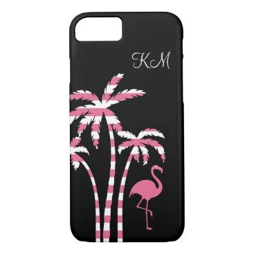 Beach Themed Flamingo Tropical Monogram iPhone 7 Case