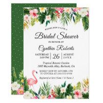 Flamingo Tropical Palm Leaves Floral Bridal Shower Card
