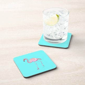 Flamingo Turquoise Blue Coaster