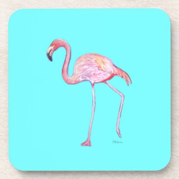 Beach Themed Flamingo Turquoise Blue Coaster