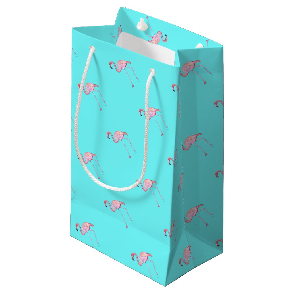 Flamingo turquoise blue gift bag