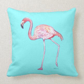 Flamingo Turquoise Blue Throw Pillow