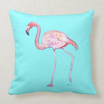 Beach Themed Flamingo Turquoise Blue Throw Pillow