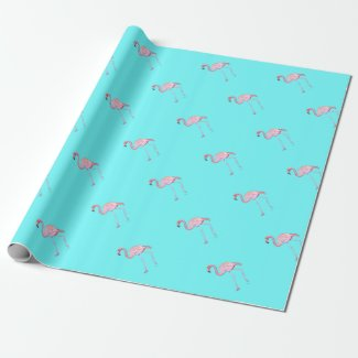 Flamingo turquoise blue wrapping paper