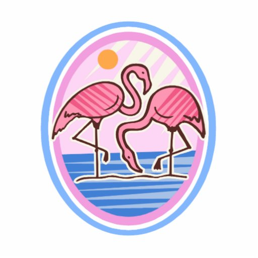 Flamingo Twins Standing Photo Sculpture