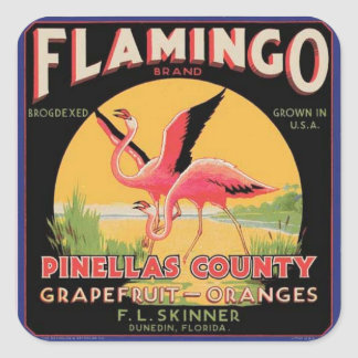Flamingo Vintage Fruit Crate Label Sticker