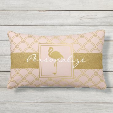Beach Themed Flamingo Vintage Pink and Faux Gold Modern Lumbar Pillow