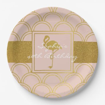Beach Themed Flamingo Vintage Pink and Gold Birthday Party Paper Plate
