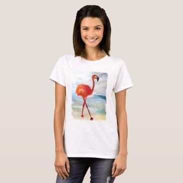 Beach Themed Flamingo Watercolor Art Women's Basic T-Shirt