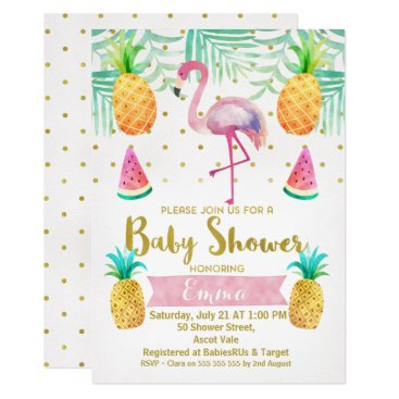 Toddler & Baby themed Flamingo Watercolor Baby Shower Invitation