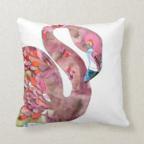 Flamingo watercolor cutting art pillow