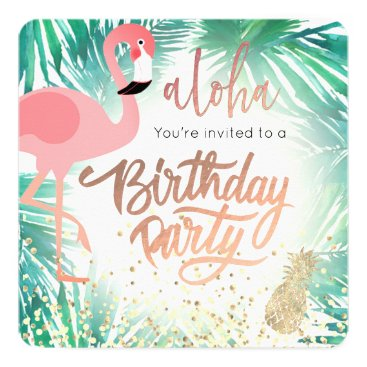 Beach Themed flamingo watercolor tropical birthday party card