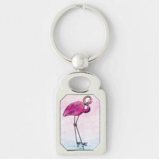 Flamingo Watercolor Vintage Pink Flamingos Retro Keychain