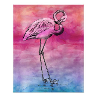 Flamingo Watercolor Vintage Pink Flamingos Retro Photo Print