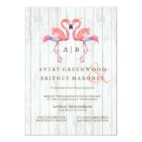 Flamingo Watercolor Wedding Invitations