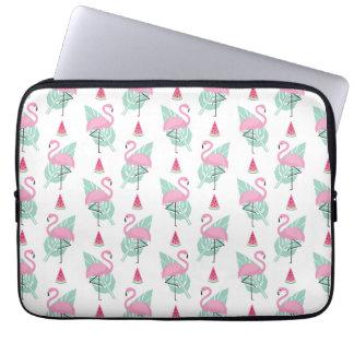 Flamingo & Watermelon Pastel Pattern Computer Sleeve