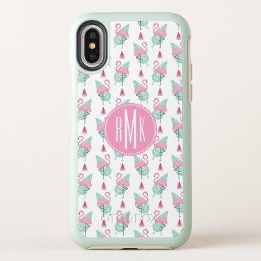 Beach Themed Flamingo & Watermelon Pastel Pattern OtterBox Symmetry iPhone X Case