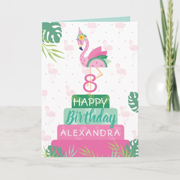 Enjoyable Flamingo Watermelon Tropical Birthday Cake Card Zazzle Com Personalised Birthday Cards Bromeletsinfo