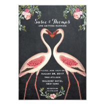Flamingo wedding invitation chalkboard