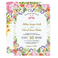 Flamingo Wedding Tropical Floral Palm leaves Gold Invitation