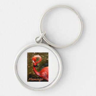 """Flamingo with """"flamingo"""" pink text Silver-Colored round keychain"""