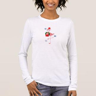 Flamingo with Santa Hat and Christmas Wreath Long Sleeve T-Shirt