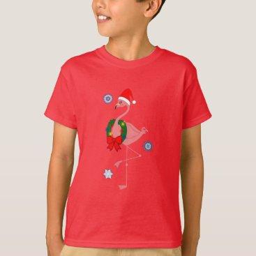 Christmas Themed Flamingo with Santa Hat and Christmas Wreath T-Shirt