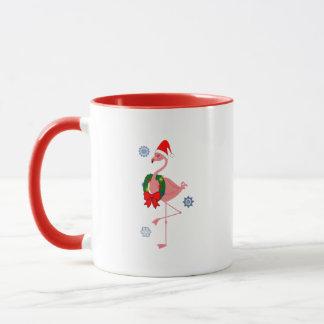 Flamingo with Santa Hat and Wreath Mug