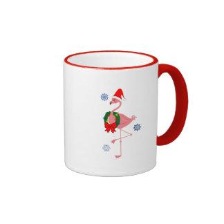 Flamingo with Santa Hat and Wreath Coffee Mug