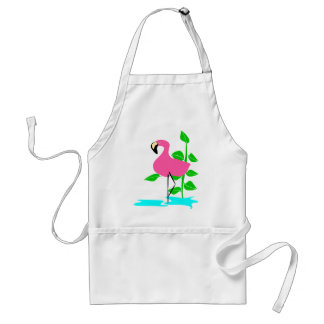 Flamingo With Water And Tropical Leaves, Long Stem Apron