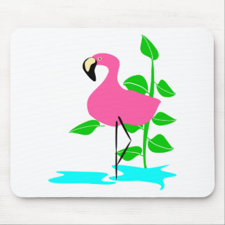 Flamingo With Water And Tropical Leaves, Long Stem Mouse Pads