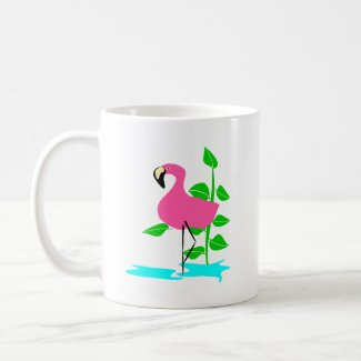 Flamingo With Water And Tropical Leaves, Long Stem mug